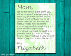 MOM Gift Print  Gift for Mother  Personalized by LittleLifeDesigns, $10.00