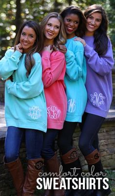 Monogrammed #Comfort Colors Sweatshirt - Because they're #amazing. #FallFashion