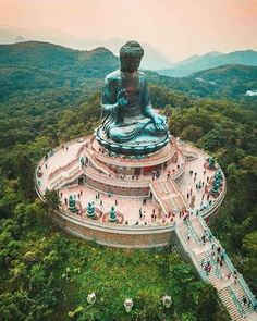"""""""Tian Tan Buddha, also known as the Big is a large bronze of Buddha Shakyamuni, completed in and located at Ngong Ping, Lantau Island, in Hong Kong. It is one of the largest seated Buddha statues in the world"""" . Beautiful Places To Visit, Cool Places To Visit, Wonderful Places, Places To Travel, Places To Go, Hong Kong, Norway Beach, Les Cascades, Destination Voyage"""