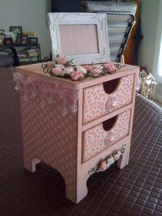 Miniature drawers decorated with Kaisercraft Pitter Patter paper range - by Ngaire Ashdown