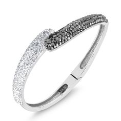 18kt White Gold Plated Round Crystal Comfort Fit Bangle