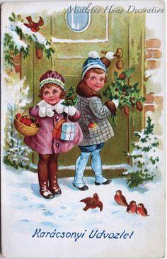 Mistletoe Home Decoration: Vintage Hungarian Christmas cards Christmas Postcards, Christmas Cards, Christmas Ornaments, Vintage Cards, Vintage Postcards, Christmas And New Year, Vintage Christmas, Mistletoe, Hungary