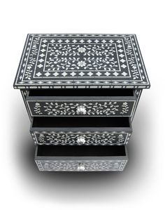 A slate gray and white painted dresser using the Indian Inlay Stencil Kit designed by Kim Myles from Cutting Edge Stencils. http://www.cuttingedgestencils.com/indian-inlay-stencil-furniture.html