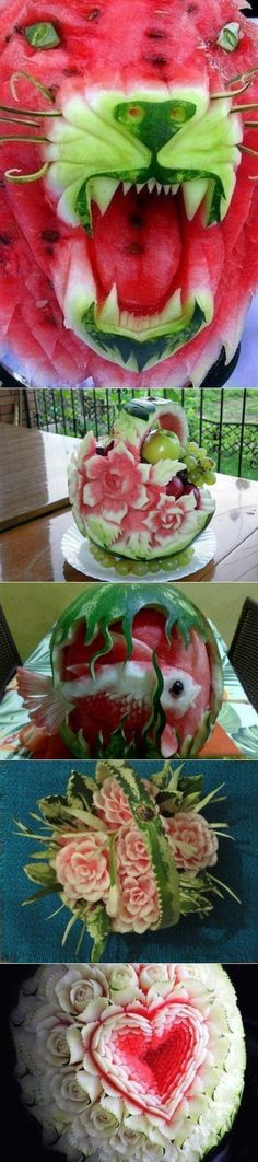 6cotok.org Fruit Presentation, Creative Food Art, Watermelon Art, Food Carving, Vegetable Carving, Fruit Decorations, Fruit Dishes, Weird Food, Fruit Art