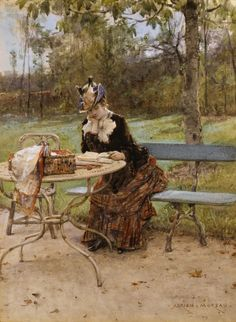 In the Park. Adrien Moreau (French, 1843-1906). Watercolor and gouache on paper.