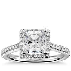 Princess-Cut Floating Halo Engagement Ring in 14k White Gold | Blue Nile