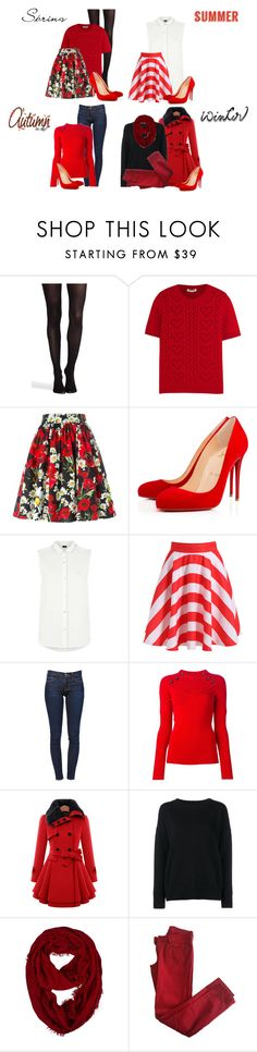 """""""Red High Heels for the 4 Seasons"""" by rainbowroad96 ❤ liked on Polyvore featuring SPANX, Miu Miu, Dolce&Gabbana, Christian Louboutin, Armani Jeans, Frame, Isabel Marant and Comptoir Des Cotonniers"""