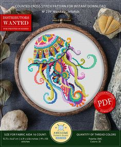 This is modern cross-stitch pattern of Mandala Jellyfish for instant download. You will get 7-pages PDF file, which includes: - main picture for your reference; - colorful scheme for cross-stitch; - list of DMC thread colors (instruction and key section); - list of calculated