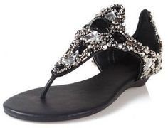 Amazon.com: Luxury Gems Stone Rhinestones Embellished Thong Flat Sandal L14751,Black, 8.5 US: Shoes