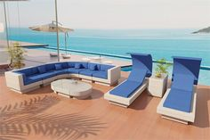 Elegant patio furniture sectional from our Nouveau de Soleil outdoor wicker Collection. This is set 9W.  Our wicker is made of lasting, Eco freindly White VIRO wicker, safe for use around pools, salt water and has amazing UV protection
