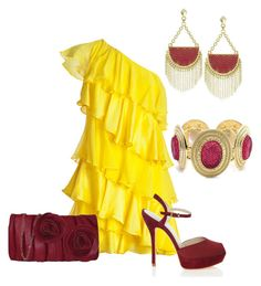 A fashion look from August 2012 featuring holiday cocktail dresses, peep-toe shoes and pocket purse. Browse and shop related looks. Night Outfits, Fashion Outfits, Womens Fashion, Little Red Wagon, Moda Outfits, Yellow Fashion, Halston Heritage, Karen Millen, Summer Looks