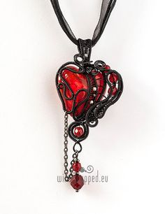 OOAK Red goth wire wrapped heart pendant by ukapala on Etsy
