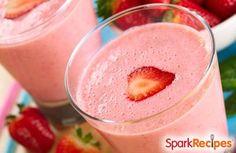 Healthy Strawberry Cheesecake Shake - Use stevia and add flax seed.