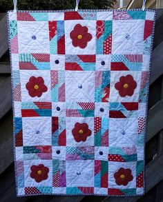 https://flic.kr/p/EggCqo | 16 Top Jagged Little Pill finished A | Another finished quilt. made with blocks I received from #beehiveswarmsiobhan