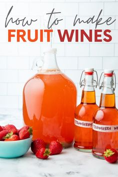 You're going to be shocked by how easy it is to make fruit wine! Our beginner's tutorial will teach you step-by-step how to make homemade strawberry wine. Homemade Strawberry Wine Recipe, Homemade Wine Recipes, Beer Recipes, Vegan Recipes Easy, Canning Soup Recipes, Frozen Fruit, Wine Making, Hot Sauce Bottles, Liqueurs
