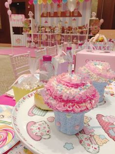 Cute centerpieces at a Candyland birthday party! See more party planning ideas at CatchMyParty.com!