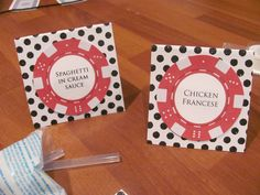 poker chip food labels  ((Tons of great ideas for a Casino-themed party!  S.))
