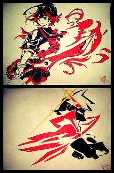 Kamina and Ryuko // Kill la Kill and Gurren Lagann