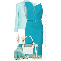 Office Elegance - Turquoise & Green, created by celinecucci on Polyvore