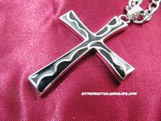316L Stainless Steel Cross Pendants for Men with Black PVD Inlay