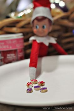 "Elf delivers tiny donuts made from cheerios + sprinkles... perhaps he also delivers some ""people"" donuts"