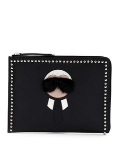 Karlito Large Zip-Around Pouch Bag, Black Multi by Fendi at Neiman Marcus.