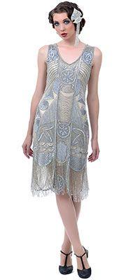 Silver 1920s Great Gatsby Wedding Dress-