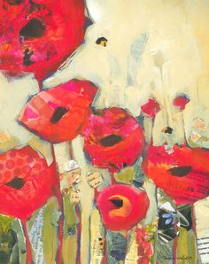 Red Poppies No12  11x14 original mixed media painting on paper    I love poppies but they would rather wither and die than grow in my garden so I
