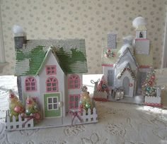 Lighted Christmas Cottages with Mini Bottle Brush by IllusiveSwan, $42.00