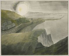 """Shelling by Night by Eric Ravilious 1941 ( View from Shakespeare Cliff looking eastwards towards Dover Harbour (including Admiralty Pier), Kent. Nocturne, Landscape Art, Landscape Paintings, Seascape Paintings, Magic Realism, Before Us, Printmaking, In This World, Giclee Print"