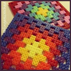 Granny squares hama beads by fingerscroched Hama Beads Coasters, Diy Perler Beads, Perler Bead Art, Pearler Beads, Pearler Bead Patterns, Perler Patterns, 8bit Art, Hama Beads Design, Fusion Beads