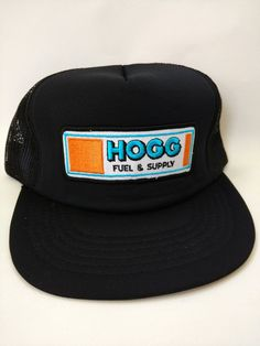 9a0a438df82aa Hogg Fuel and Supply Trucker Hat Mesh Snapback 1980s Black Cap