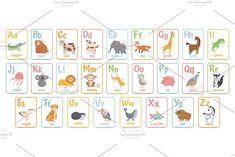 Alphabet cards for kids. Educational by Tartila Abc For Kids, Fun Games For Kids, Kids Fun, Happy Mom, Happy Kids, Funny Happy, Alphabet Cards, Abc Alphabet, Cartoon Font