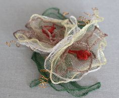 Knitted copper wire forming flowers. WireKnitZ #millinery #judithm #hats Learn about this new product in our July workshop, https://www.judithm.com//products/making-flower-trims