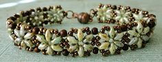 "HEXAGON DUO BRACELET 11/0 seed beads Miyuki ""Metallic Chocolate (11-461) SuperDuo beads ""Opaque Green Luster"" 3mm druks ""Howlite Bro..."