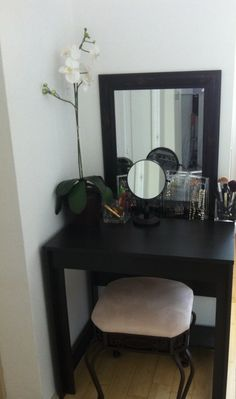 Vanity desk idea for small apartment I bought the table from ikea ,the mirror at local thrift store ....