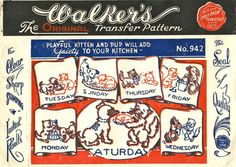 UNUSED 1930s Walkers Transfer Pattern 942 * Playful Kitten and Pups Motifs for…