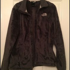 North Face fuzzy jacket Gray women's north face zip up jacket. Discontinued color: charcoal gray North Face Jackets & Coats