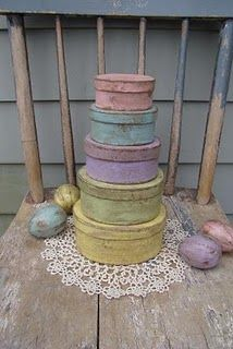 Wonderful Wood And Paper Mache  Primitive, Shabby Chic And Cottage Style Items!  The paper mache eggs are delightful and perfect for decorating around the house this Spring. All in beautiful colors and finishes. Next on my wish list are these great paper maches stacking boxes.
