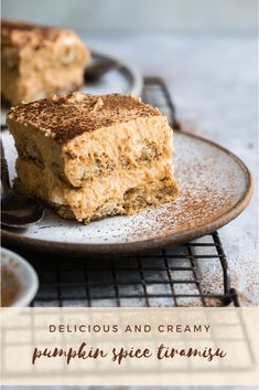 A delicious and creamy pumpkin spice flavored tiramisu. Soft coffee soaked ladyfingers topped with a rich creamy pumpkin spiced flavored filling and dusted with cocoa and espresso powder. #tiramisu #pumpkinspice #dessert #fall Beaux Desserts, Desserts Menu, Fall Desserts, Just Desserts, Delicious Desserts, Dessert Recipes, Layered Desserts, Plated Desserts, Chocolate Brownie Cake