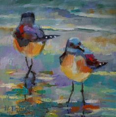 A MINOR SEAGULL SQUABBLE, painting by artist Elizabeth Blaylock