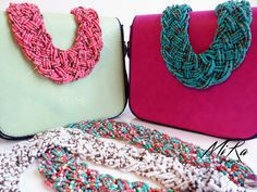 Adelaide Bags (green and pink) with Maxi Beads necklaces (pink, green, white and  multi color)  www.mirasstore.com