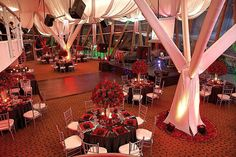 Large view of the reception's decorations, dance floor and stage