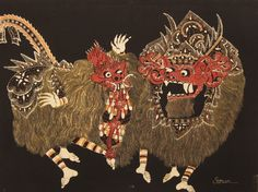 Modern batik painting depicting Barong and Rangda, in shades of yellow, red, orange and white against a black background, Indonesia. Museon, CC BY