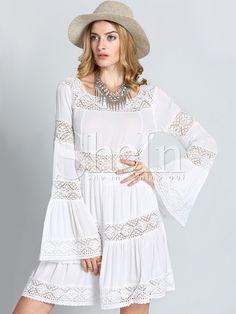 Vestido manga larga crochet encaje -blanco