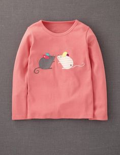 Little Appliqué T-shirt (Soft Coral/Mice ) Kids Outfits Girls, Girl Outfits, Fall Applique, Sewing Appliques, Mini Boden, Cool Costumes, Baby Sewing, Applique Designs, Fall Clothes