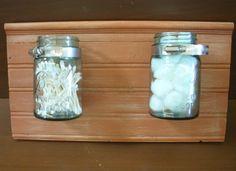 Mason jar bathroom storage tutorial #DIY #WhyReStore