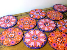 Party pack! Vintage 70s coasters, set of 10, orange, pink and purple psychedelica door HuntersKitchen, €28.00