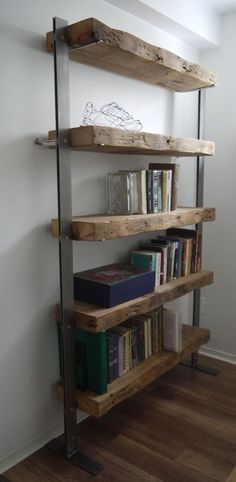 Reclaimed Wood Bookshelves with Metal Uprights #furnituredesign