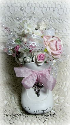 White Baby Shoe Pincushion-baby shower, baby gift, cottage white, roses, handmade gift, shabby sweet, chic, decoration, pink, pearls, roses, charm